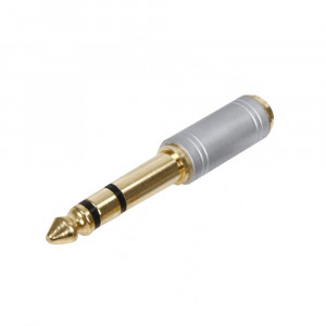 HQ S-SAC007 Silver 6,35mm jack - 3,5mm jack stereo audio adapter