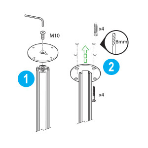 Mika YT3248 System Pole Ceiling Mounting Kit