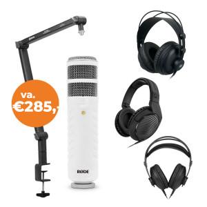 PODCAST SET: RODE Podcaster + BOYA BA30 microfoonarm +  hoofdtelefoon